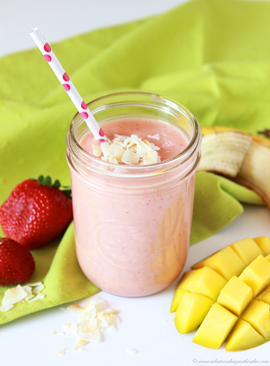 Strawberry Banana Mango Coconut Smoothie on www.cookingwithruthie.com refreshing, healthy, and delicious!