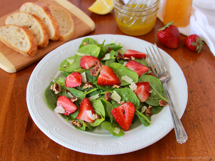 Strawberry Spinach Salad on www.cookingwithruthie.com is a delicious way to welcome spring!