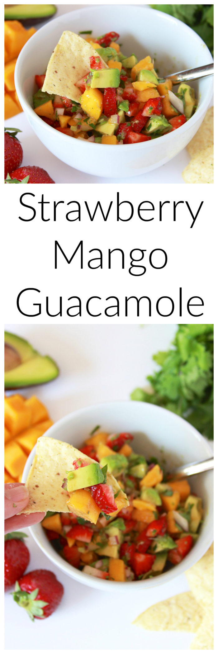 Strawberry Mango Guacamole on www.cookingwithruthie.com is just what your next fiesta needs! Packed with fresh ingredients that's the perfect blend of both savory and sweet.