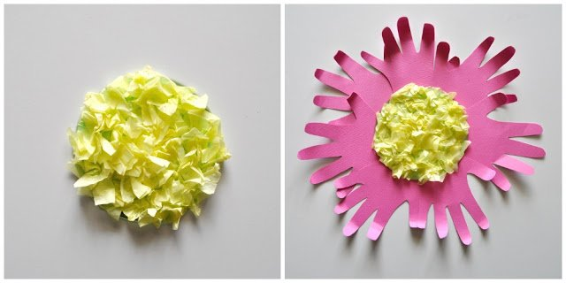 Handprint Flower Craft for Kids. The handprints definitely give it a special touch for Moms, Grandmas and kids.