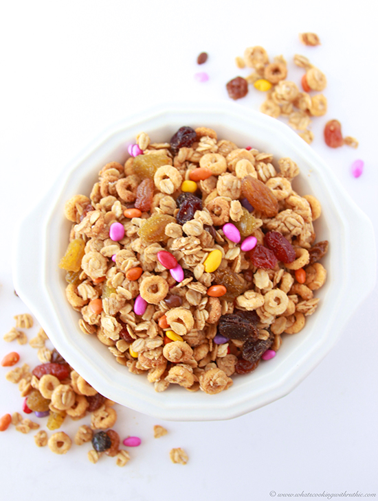 Peanut Butter Granola Snack Mix on www.cookingwithruthie.com is quick and easy to make and healthy too!