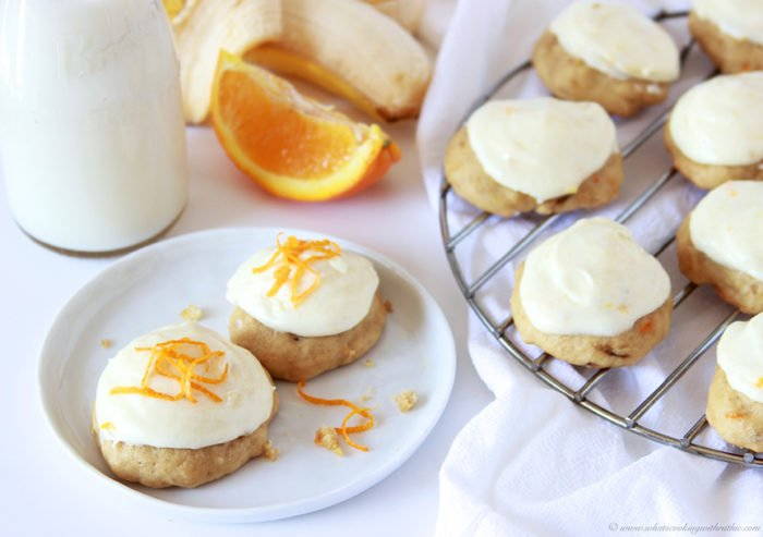 Banana Orange Drop Cookies on www.cookingwithruthie.com are the best way to use up those overripe bananas!