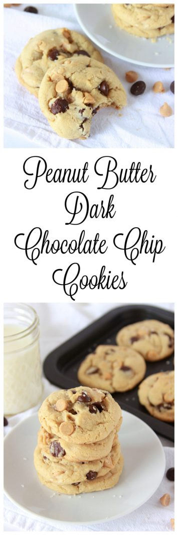 Peanut Butter Dark Chocolate Chip Cookies on www.cookingwithruthie.com will bring lots of happy smiles!