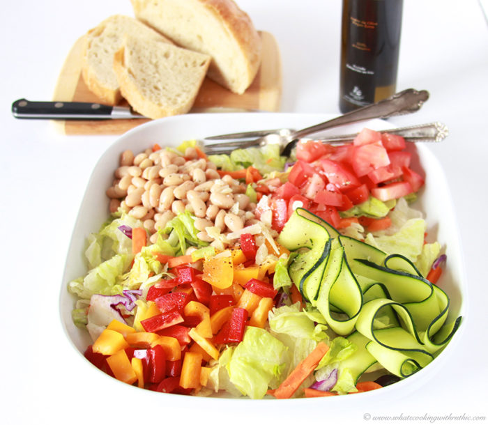 Country Italian Salad on www.cookingwithruthie.com is packed with good for you ingredients!