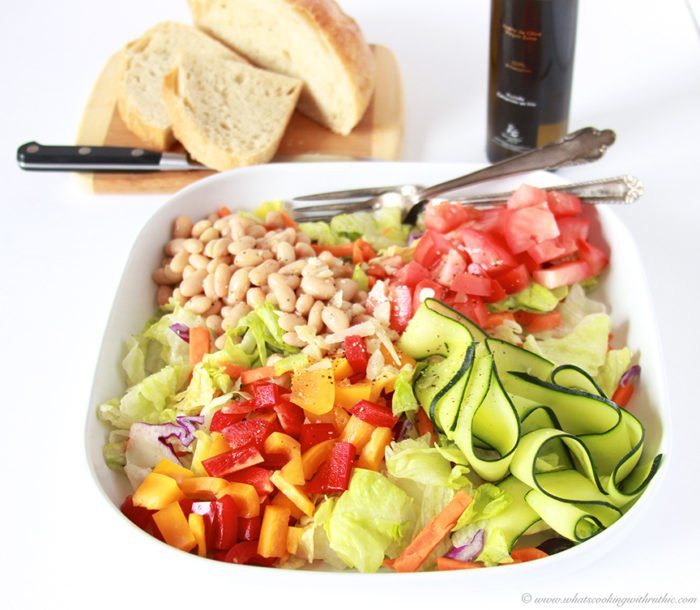 Today's Country Italian Salad Recipe is as beautiful as it is nutritious--you'll love every bite! by cookingwithruthie.comToday's Country Italian Salad Recipe is as beautiful as it is nutritious--you'll love every bite! by cookingwithruthie.com