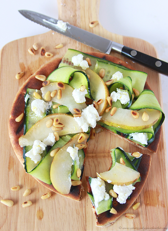 Grilled Pear Cucumber Flatbread on www.cookingwithruthie.com is a delicious, fresh, bold combination of flavors! YUM.