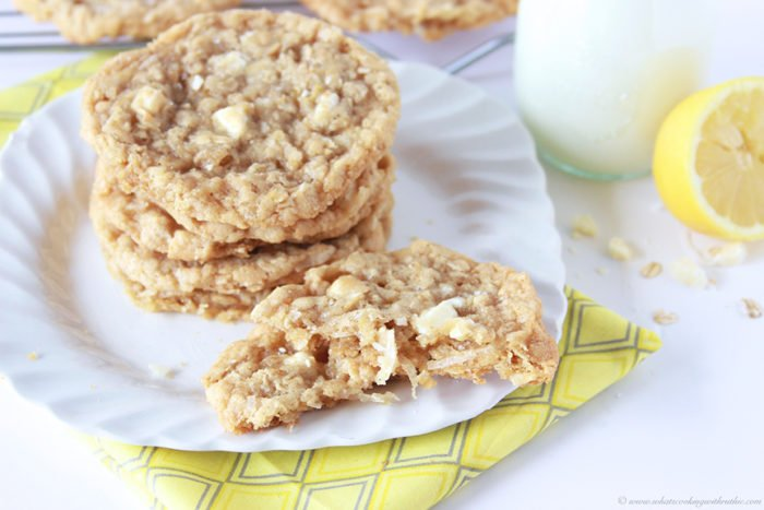 Lemon Coconut White Chocolate Chunk Cookies on www.cookingwithruthie.com are moist and delicious summertime cookie!