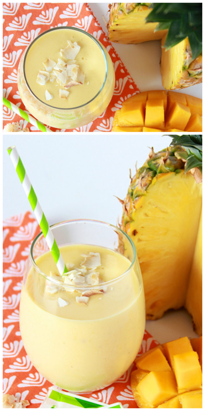 Pineapple Mango Banana Smoothie on www.cookingwithruthie.com is a refreshing and healthy way to stay cool this summer!