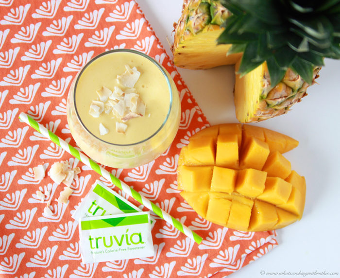 Pineapple Mango Banana Smoothie on www.cookingwithruthie.com is healthy way to stay cool this summer!