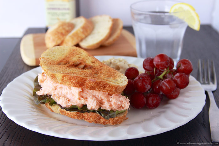 Salmon Salad Sandwich on www.cookingwithruthie.com is a delicious way to use your leftover salmon!
