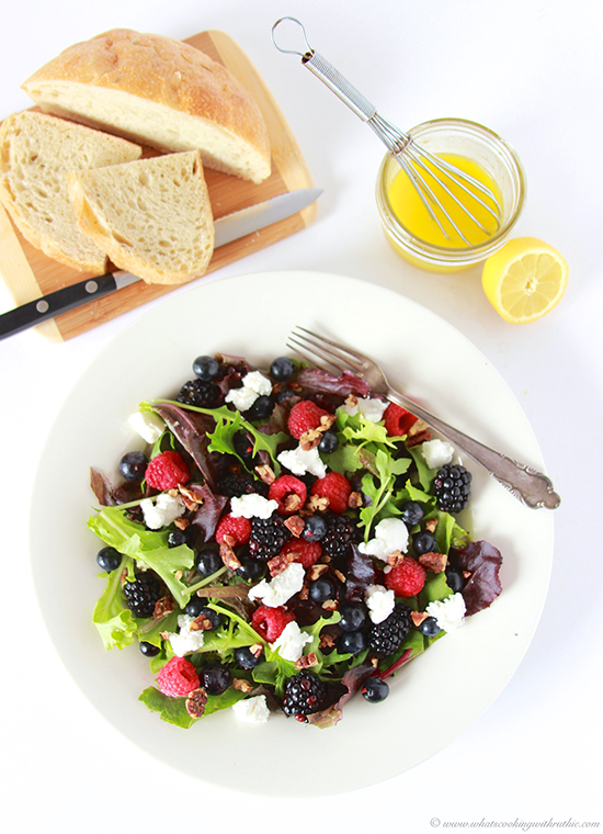 Our Triple Berry, Chevre, Candied Pecan Salad Recipe a healthy and beautiful springtime salad! by cookingwithruthie.com