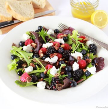Triple Berry, Chevre, Candied Pecan Salad on www.cookingwithruthie.com a fruity, healthy, delightful lunch or dinner!