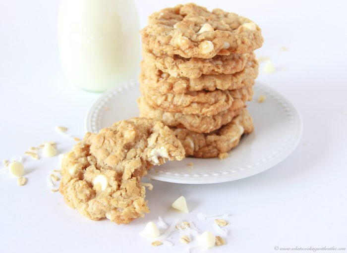 White Chocolate Chip Coconut Oatmeal Cookies on www.cookingwithruthie ...