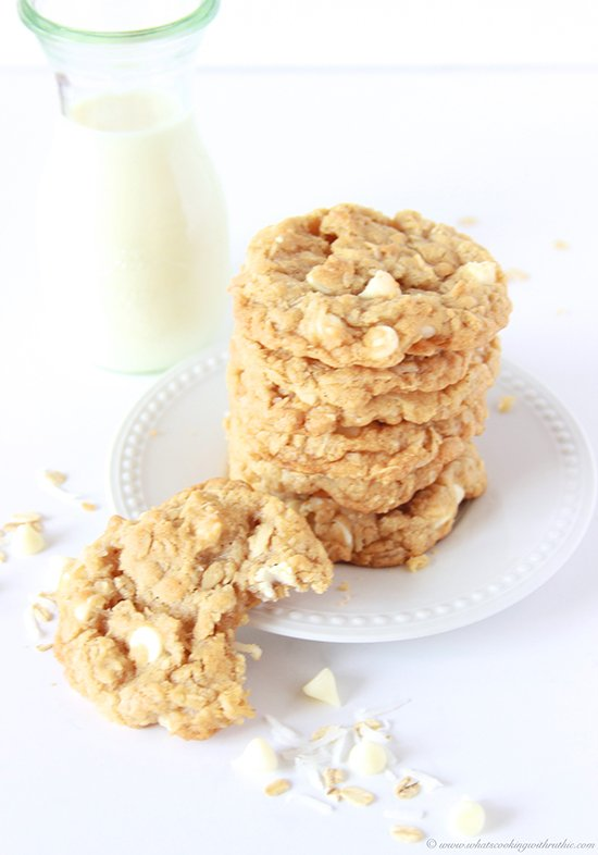 White Chocolate Chip Coconut Oatmeal Cookies on www.cookingwithruthie.com are one of our family favorites!