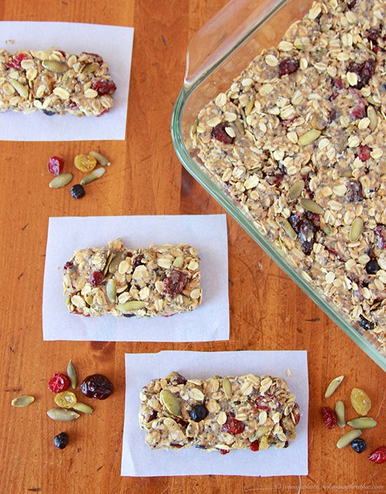 Today's Berry Medley Raw Bars are simple to make healthy energy snack! by cookingwithruthie.com