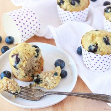 Blueberry Banana Muffins are a moist banana muffin packed with blueberries- a delicious way to start off the day!