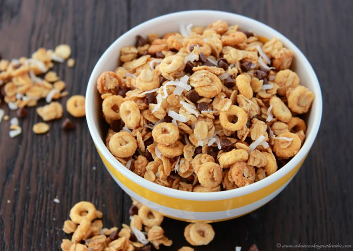 Chocolate Coconut Snack Mix on www.cookingwithruthie.com is great to take along on all of your adventures!