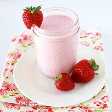 Fresh Strawberry Shake on www.cookingwithruthie.com is a fresh and tasty summer treat!