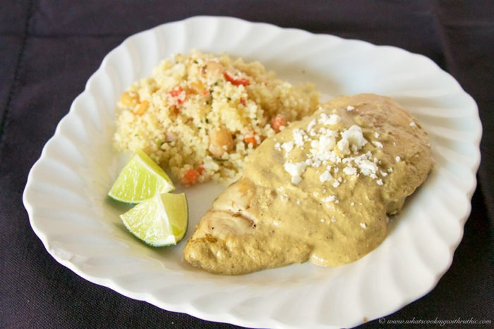 Grilled Cilantro Lime Chicken with Cream Sauce on www.cookingwithruthie.com is what your summer BBQ needs!