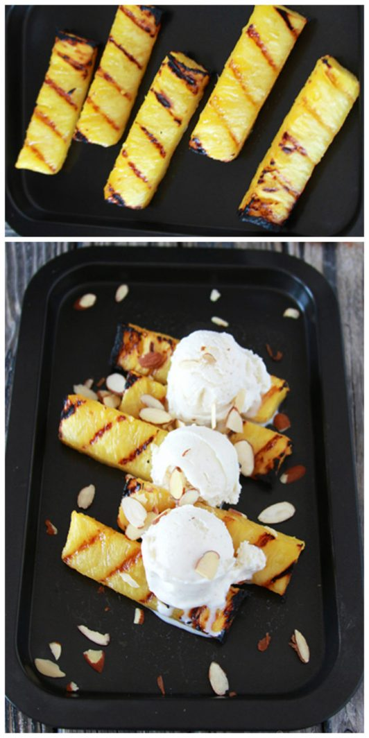 Grilled Pineapple ala Mode on www.cookingwithruthie.com is simple to throw on the grill after dinner the perfect dessert for summertime!
