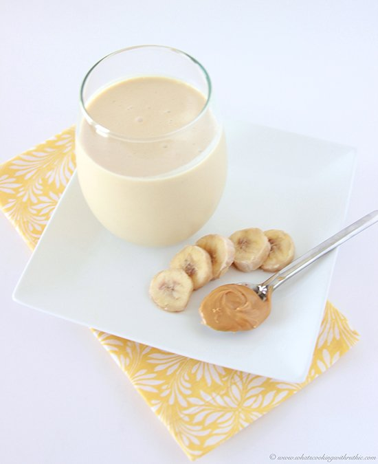 Peanut Butter Banana Smoothie on www.cookingwithruthie.com healthy and delicious!