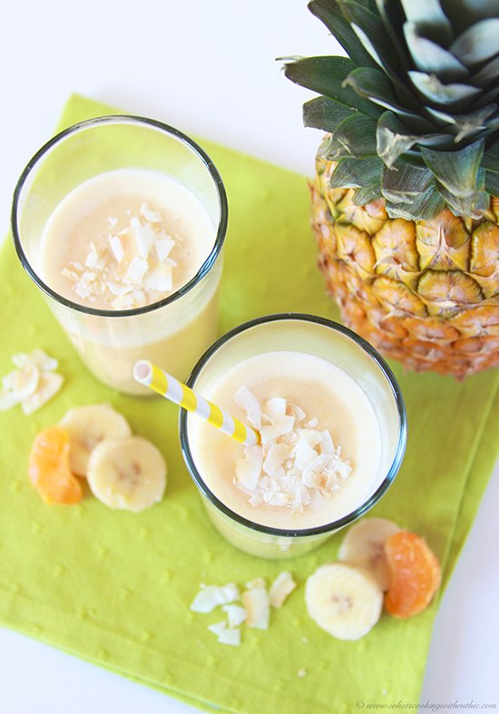 Pineapple Orange Banana Smoothie on www.cookingwithruthie.com is ...