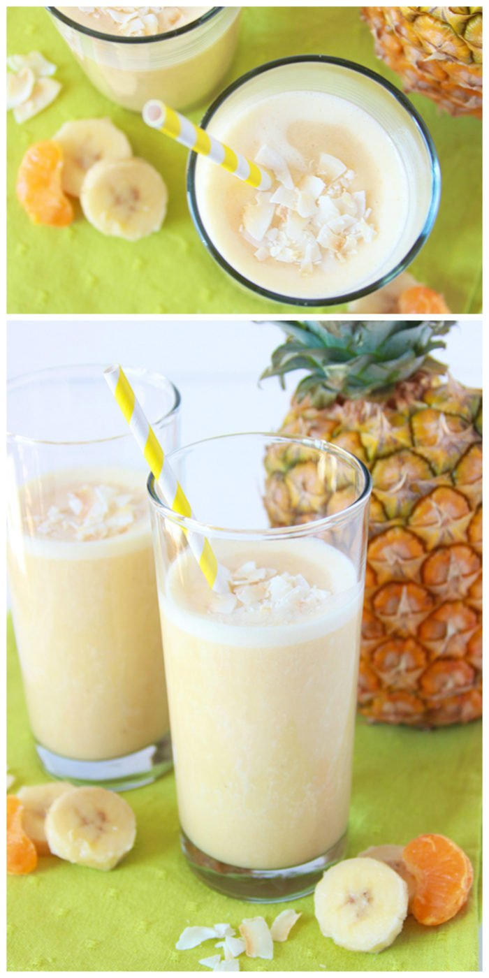 Pineapple Orange Banana Smoothie on www.cookingwithruthie.com is a healthy and refreshing beverage to keep you cooled off this summer.