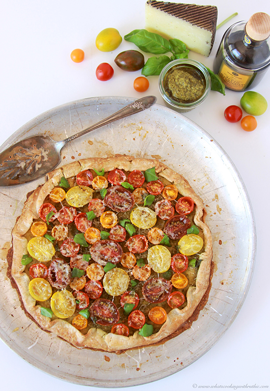 Rustic Tomato Basil Tart- is packed with fresh tomatoes, basil, and ...