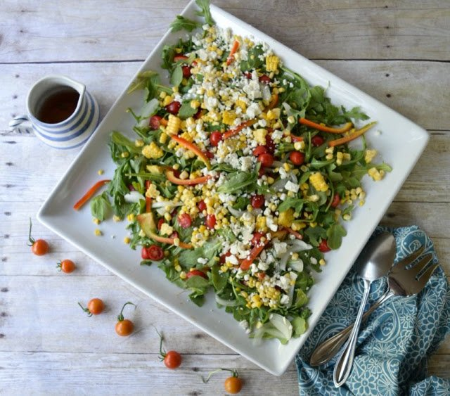 Grilled Corn, Tomato, and Arugula Salad
