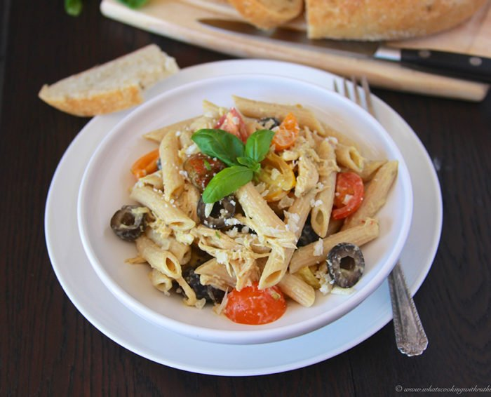 Alfredo Basil Chicken Penne on www.cookingwithruthie.com is a one pot wonder the whole family will love!!