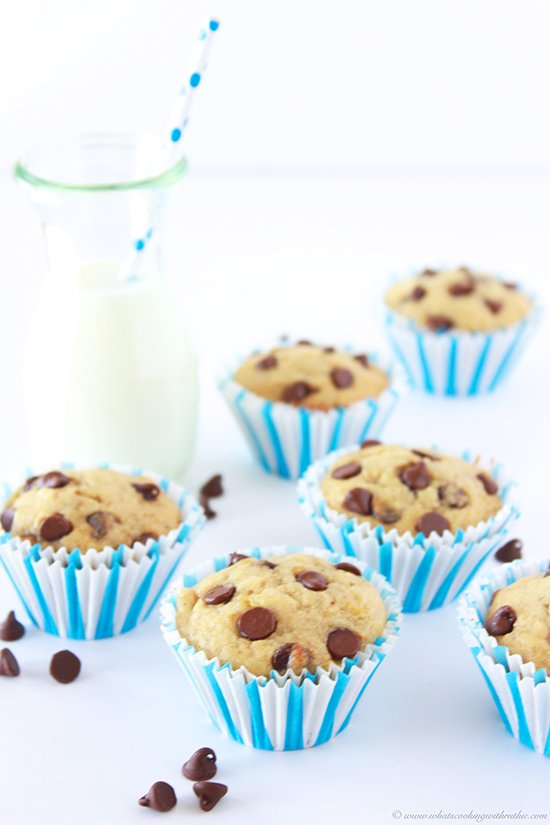 Our Banana Chocolate Chip Muffins Recipe are flavorful and moist intermingled with bursts of chocolate! by cookingwithruthie.com