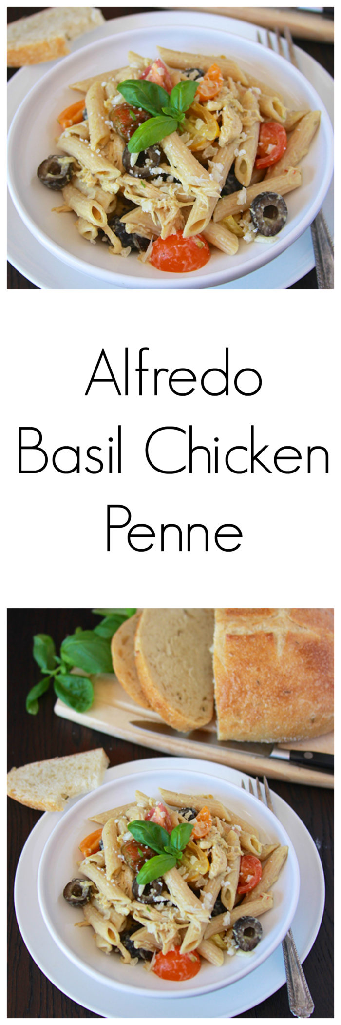 Alfredo Basil Chicken Penne is quick and easy to make;  a savory one-pot-wonder the whole family will love!! www.cookingwithruthie.com