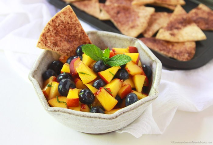 Peach Blueberry Salsa with Baked Cinnamon Tortilla Chips Recipe combines fresh picked peaches with blueberries and mint. by cookingwithruthie.com