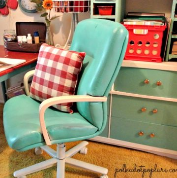 Upcycled Office Chair by www.polkadotpoplars.com on www.cookingwithruthie.com