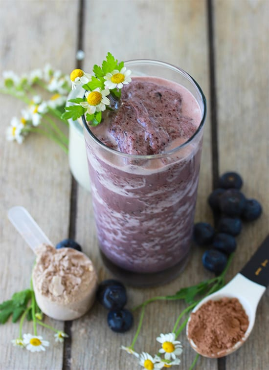Blueberry, Banana, Strawberry Protein Smoothie Recipe is packed with all kinds of good-for-you nutrition and some protein to boot! by cookingwithruthie.com