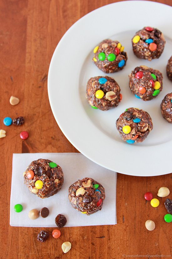 Chocolate Trail Mix Bites by www.cookingwithruthie.com fuel for all the adventures in your life!
