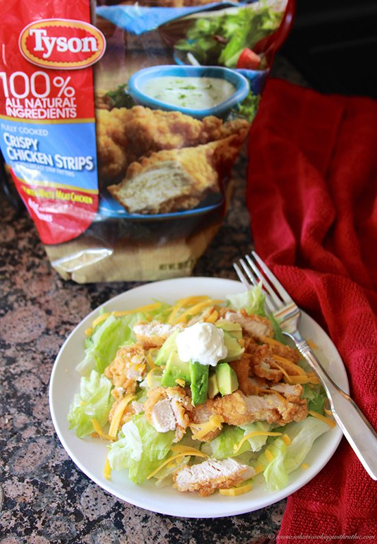 Crispy Chicken Salad on www.cookingwithruthie.com is a quick meal solution!