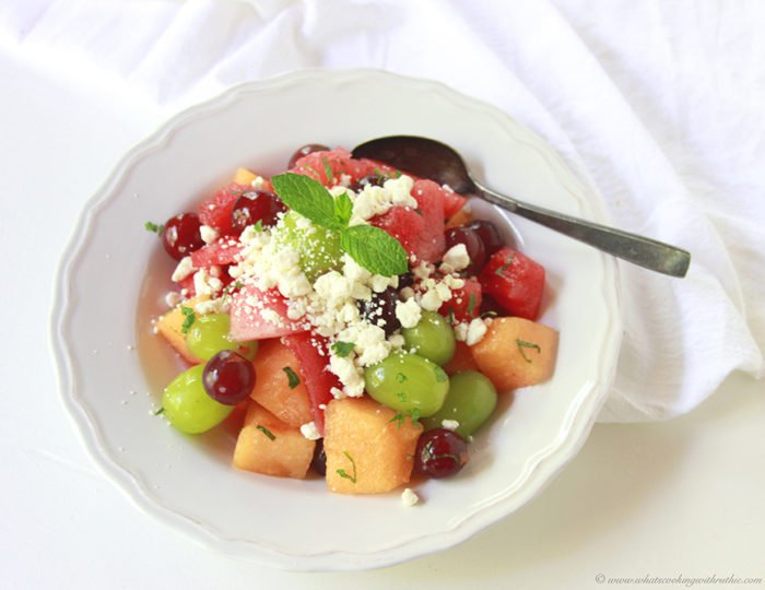 Fresh Fruit, Feta, and Mint Salad by www.cookingwithruthie.com is a refreshing flavor combination that's amazing!