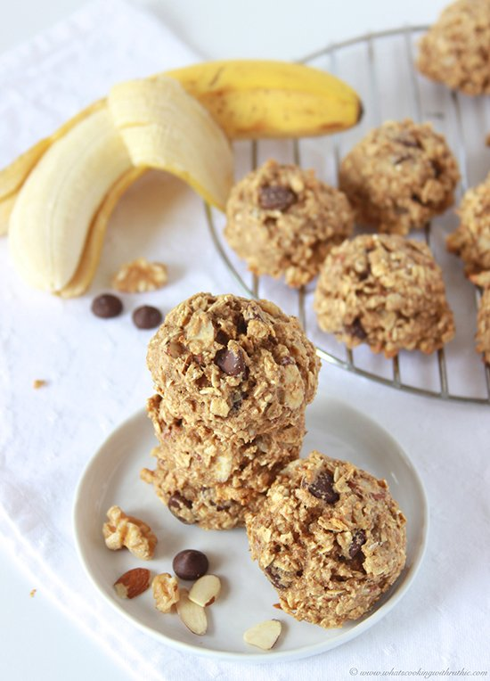 Healthy Banana Nut Dark Chocolate Chip Cookies on www.cookingwithruthie.com you'd never guess they're good for you!
