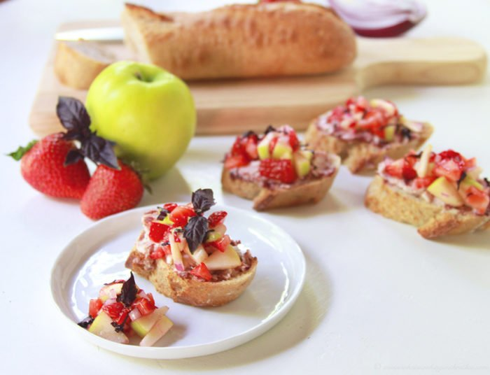 Summer Strawberry Bruschetta by www.cookingwithruthie.com is the perfect appetizer for your summer gatherings!