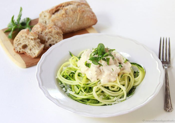 Zoodles with Basil Chicken Alfredo on www.cookingwithruthie.com will be a new favorite!