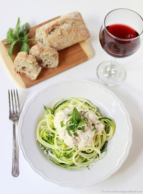 Today's Basil Chicken Alfredo with Zoodles Recipe is the tastiest way to prepare zucchini! by cookingwithruthie.com