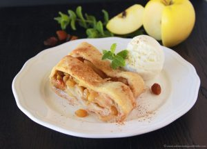 Apple Cinnamon Raisin Strudel on www.cookingwithruthie.com is simple to make and delicious for when the weather cools down!
