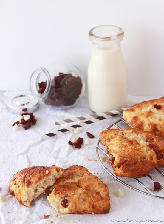 Cranberry White Chocolate Scones on www.cookingwithruthie.com are flakey with a touch of sweet and tart!