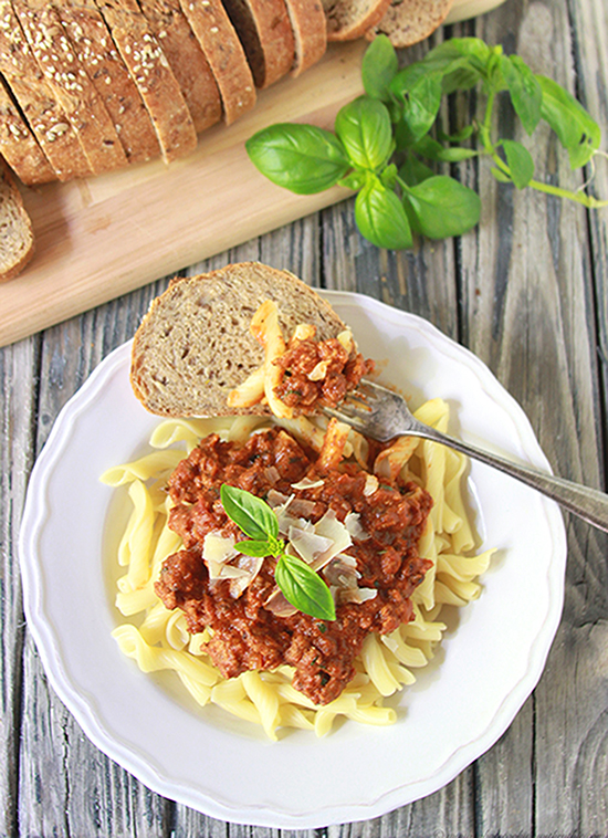 Creamy Tomato Basil Pasta on www.cookingwithruthie.com is a quick and easy dinner recipe! #pregosauce #spon