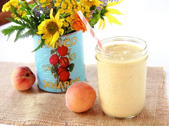 Peaches and Cream Smoothie on www.cookingwithruthie.com is a healthy to have a peaches and creamy treat!