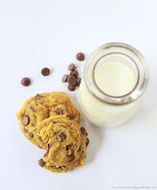 Pumpkin Milk Chocolate Chip Cookies on www.cookingwithruthie.com are a autumn baking necessity!