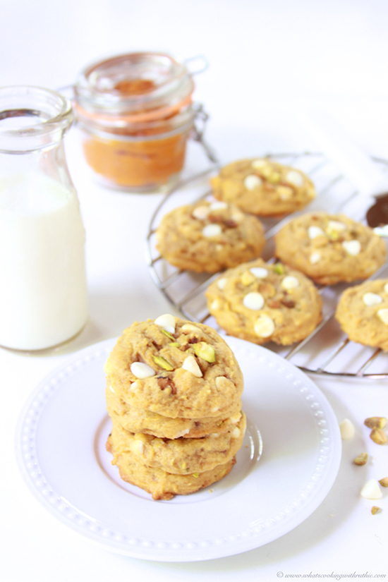 Pumpkin White Chocolate Pistachio Cookies on www.cookingwithruthie.com are a must-make for your autumn baking!