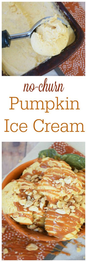 This Pumpkin Pie Ice Cream  on www.cookingwithruthie.com is only 4 ingredients and is no churn! It full flavored, creamy, and just the right amount of pumpkin!