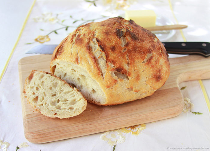 Sourdough Artisan Loaf on www.cookingwithruthie.com is no-knead, simple to make, and delicious!
